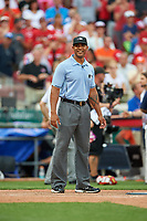 Umpire JJ January during the All-Star Legends and Celebrity Softball Game on July 12, 2015 at Great American Ball Park in Cincinnati, Ohio.  (Mike Janes/Four Seam Images)