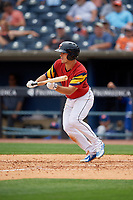Toledo Mud Hens Jacob Robson (7) squares to bunt during an International League game against the Durham Bulls on July 16, 2019 at Fifth Third Field in Toledo, Ohio.  Durham defeated Toledo 7-1.  (Mike Janes/Four Seam Images)