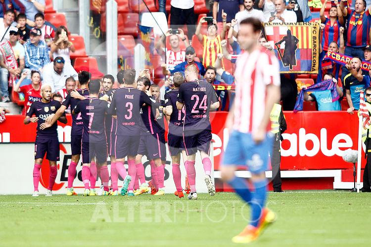 FC Barcelona's players celebrate goal during La Liga match. September 24,2016. (ALTERPHOTOS/Acero)