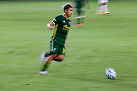 CARSON, CA - OCTOBER 07: Pablo Bonilla #28 of the Portland Timbers moves with the ball during a game between Portland Timbers and Los Angeles Galaxy at Dignity Heath Sports Park on October 07, 2020 in Carson, California.