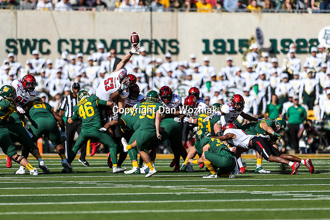 Baylor Bears place kicker John Mayers (95) in action during the game between the Texas Tech Red Raiders and the Baylor Bears at the McLane Stadium in Waco, Texas.