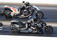 Sep 5, 2020; Clermont, Indiana, United States; NHRA top fuel Harley Davidson nitro motorcycle rider Ryan Peery (near) alongside Rickey House during qualifying for the US Nationals at Lucas Oil Raceway. Mandatory Credit: Mark J. Rebilas-USA TODAY Sports