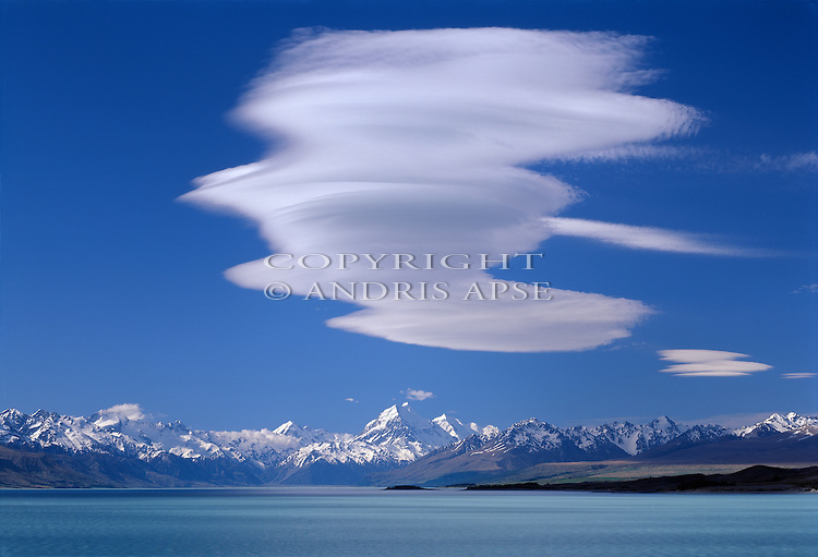 Dramatic cloud formation above Mount Cook and Lake Pukaki in the Canterbury Region of New Zealand.