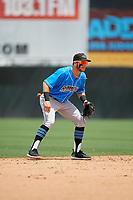 Akron RubberDucks shortstop Alexis Pantoja (1) during an Eastern League game against the Bowie Baysox on May 30, 2019 at Prince George's Stadium in Bowie, Maryland.  Akron defeated Bowie 9-5.  (Mike Janes/Four Seam Images)