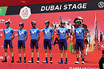 Movistar Team at sign on before the start of Stage 6 of the 2021 UAE Tour running 165km from Deira Island to Palm Jumeirah, Dubai, UAE. 26th February 2021.  <br /> Picture: Eoin Clarke   Cyclefile<br /> <br /> All photos usage must carry mandatory copyright credit (© Cyclefile   Eoin Clarke)