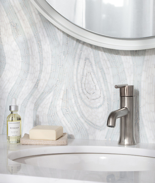 Maji, a hand-cut jewel glass mosaic, shown in Moonstone and Opal Sea Glass™. Designed by Joni Vanderslice as part of the J. Banks Collection for New Ravenna.