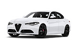 Stock pictures of low aggressive front three quarter view of 2020 Alfaromeo Giulia Sprint 4 Door Sedan Low Aggressive