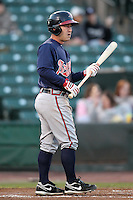 Gwinnett Braves outfielder Matt Young #8 at bat during a game against the Rochester Red Wings at Frontier Field on May 5, 2011 in Rochester, New York.  Rochester defeated Gwinnett by the score of 3-2.  Photo By Mike Janes/Four Seam Images
