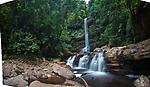 Takob-Akob Falls, edge of southern plateau, Maliau Basin. Sabah's 'Lost World', Borneo (digitally stitched image).