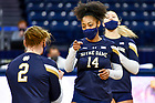 March 26, 2021; Volleyball, Hanna Thompson (14) celebrates after a point. (Photo by Matt Cashore/University of Notre Dame)