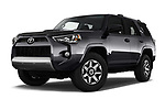 Stock pictures of low aggressive front three quarter view of 2018 Toyota 4Runner Off-Road 5 Door SUV
