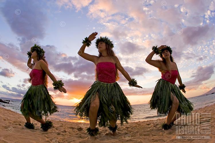Three hula dancers in ti leaf skirts dance on the beach at sunset at Makena, Maui.