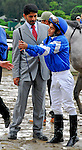 29 August 2009: Jockey Alan Garcia tries to explain the erratic path of Vineyard Haven that lead to a disqualification in the King's Bishop Stakes  at Saratoga Race Track in Saratoga Springs, New York