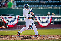 12 June 2021: Vermont Lake Monsters infielder Noah Granet, from Scranton, PA, hits a 2-run homer in the first inning against the Westfield Starfires at Centennial Field in Burlington, Vermont. The Lake Monsters defeated the Starfires 4-1 at Centennial Field, in Burlington, Vermont. Mandatory Credit: Ed Wolfstein Photo *** RAW (NEF) Image File Available ***