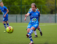 Rkia Mazrouai (2) of AA Gent in action during a female soccer game between Oud Heverlee Leuven and AA Gent Ladies on the 9 th matchday of play off 1 in the 2020 - 2021 season of Belgian Womens Super League , saturday 22 nd of May 2021  in Heverlee , Belgium . PHOTO SPORTPIX.BE   SPP   SEVIL OKTEM