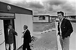Sullom Voe construction workers housing blocks, new workers being shown their accommodation. 1979.