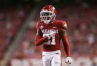 Arkansas defensive back Montaric Brown (21) reacts, Saturday, November 7, 2020 during the second quarter of a football game at Donald W. Reynolds Razorback Stadium in Fayetteville. Check out nwaonline.com/201108Daily/ for today's photo gallery. <br /> (NWA Democrat-Gazette/Charlie Kaijo)