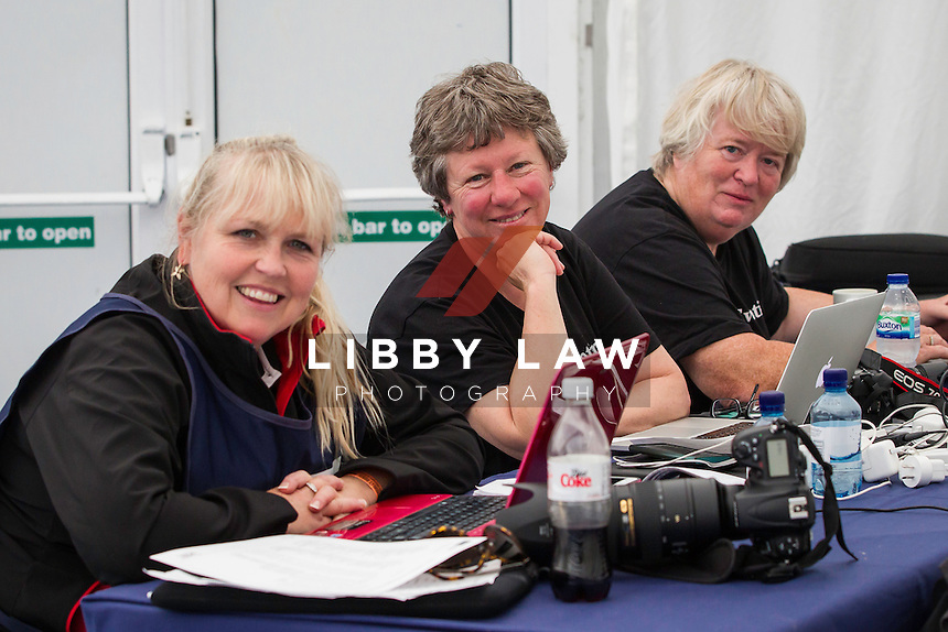 MEDIA CENTRE MANIA: NZL-MEDIA GURU'S: Diana Dobson; Jane Thompson; Vicky Glynn: CCI4* SHOWJUMPING: 2014 GBR-Land Rover Burghley Horse Trial (Sunday 7 September) CREDIT: Libby Law COPYRIGHT: LIBBY LAW PHOTOGRAPHY - NZL