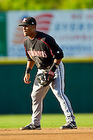 Kannapolis Intimidators second baseman Micah Johnson (37) on defense against the Hickory Crawdads at L.P. Frans Stadium on May 25, 2013 in Hickory, North Carolina.  The Crawdads defeated the Intimidators 14-3.  (Brian Westerholt/Four Seam Images)