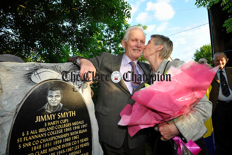 Jimmy Smyth gets a kiss from his wife Vera during  the Ruan GAA night in his honor. Photograph by John Kelly.