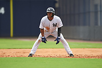 GCL Yankees East right fielder Jonathan Amundaray (60) leads off first base during the first game of a doubleheader against the GCL Yankees West on July 19, 2017 at the Yankees Minor League Complex in Tampa, Florida.  GCL Yankees West defeated the GCL Yankees East 11-2.  (Mike Janes/Four Seam Images)