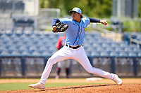 FCL Rays pitcher Maicor Leon (69) during a game against the FCL Twins on July 20, 2021 at Charlotte Sports Park in Port Charlotte, Florida.  (Mike Janes/Four Seam Images)