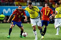 Edwin Cardona of Colombia and Koke Resurrecci?n and Iago Aspas of Spain during the friendly match between Spain and Colombia at Nueva Condomina Stadium in Murcia, jun 07, 2017. Spain. (ALTERPHOTOS/Rodrigo Jimenez) (NortePhoto.com) (NortePhoto.com)