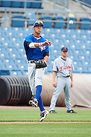 Wes Wilson #26 of Wesleyan Christian Academy in High Point, North Carolina playing for the Toronto Blue Jays scout team during the East Coast Pro Showcase at Alliance Bank Stadium on August 1, 2012 in Syracuse, New York.  (Mike Janes/Four Seam Images)