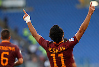 Calcio, Serie A: Roma vs Udinese. Roma, stadio Olimpico, 20 agosto 2016.<br /> Roma's Mohamed Salah celebrates after scoring during the Italian Serie A football match between Roma and Udinese at Rome's Olympic stadium, 20 August 2016. Roma won 4-0.<br /> UPDATE IMAGES PRESS/Riccardo De Luca