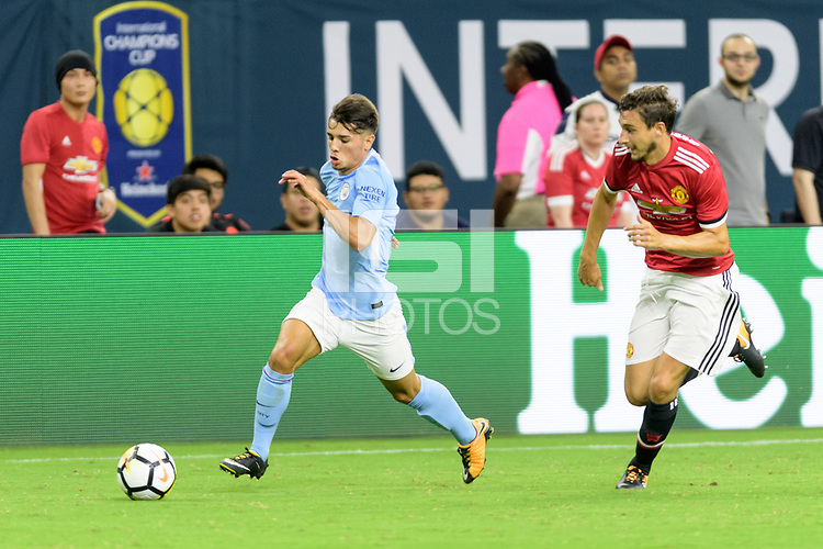 Houston, TX - Thursday July 20, 2017: Samir Nasri and Matteo Darmian during a match between Manchester United and Manchester City in the 2017 International Champions Cup at NRG Stadium.