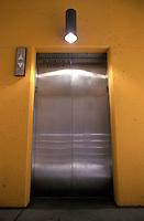 Steel elevator doors..