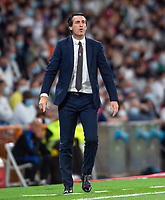 25th September 2021; Estadio Santiagp Bernabeu, Madrid, Spain; Men's La Liga, Real Madrid CF versus Villarreal CF; Unai Emery Villareal manager very animated