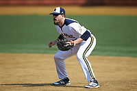 Quinnipiac Bobcats first baseman Ben Gibson (30) on defense against the Radford Highlanders at David F. Couch Ballpark on March 4, 2017 in Winston-Salem, North Carolina. The Highlanders defeated the Bobcats 4-0. (Brian Westerholt/Four Seam Images)