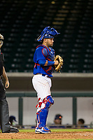 AZL Cubs catcher Richard Nunez (8) on defense against the AZL White Sox on August 13, 2017 at Sloan Park in Mesa, Arizona. AZL White Sox defeated the AZL Cubs 7-4. (Zachary Lucy/Four Seam Images)