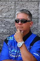 Apr 12, 2015; Las Vegas, NV, USA; NHRA pro stock driver Rodger Brogdon during the Summitracing.com Nationals at The Strip at Las Vegas Motor Speedway. Mandatory Credit: Mark J. Rebilas-
