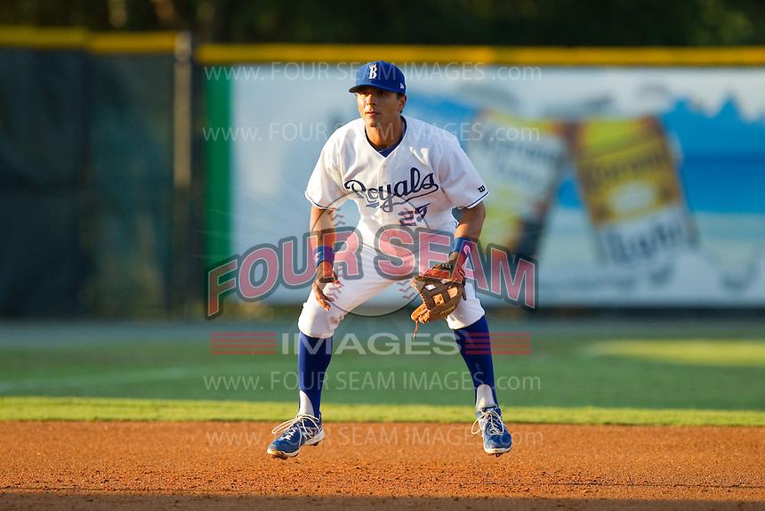 Burlington Royals third baseman Nick Cuckovich (25) on defense against the Danville Braves at Burlington Athletic Park on August 16, 2013 in Burlington, North Carolina.  The Royals defeated the Braves 1-0.  (Brian Westerholt/Four Seam Images)