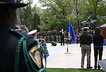 Shawn Mahan sings during the annual Nevada Law Enforcement Officers Memorial Ceremony on the Capitol Mall in Carson City, Nev., on Thursday, May 7, 2015.<br /> Photo by Cathleen Allison