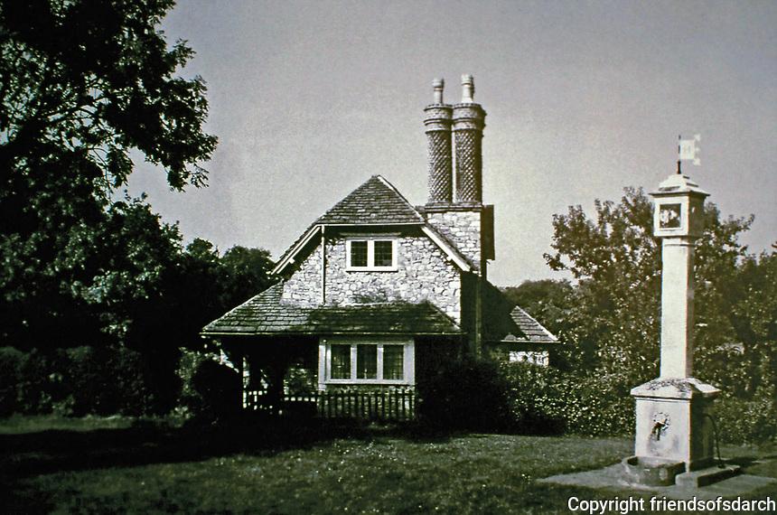 Blaise Hamlet:  Dial Cottage, designed by John Nash, 1810-1811. One of nine cottages around a green in Bristol, England. Built for retired employees of Quaker banker and philanthropist John Scandrett Harford.