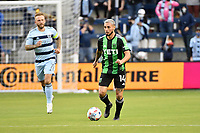 KANSAS CITY, KS - MAY 9: Diego Fagundez #14 Austin FC with the ball during a game between Austin FC and Sporting Kansas City at Children's Mercy Park on May 9, 2021 in Kansas City, Kansas.