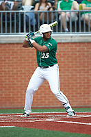 Logan Sherer (25) of the Charlotte 49ers at bat against the Marshall Thundering Herd at Hayes Stadium on April 23, 2016 in Charlotte, North Carolina. The Thundering Herd defeated the 49ers 10-5.  (Brian Westerholt/Four Seam Images)