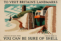 BNPS.co.uk (01202 558833)<br /> Pic: Lyon&Turnbull/BNPS<br /> <br /> Pictured: A poster featuring Appledore in Devon<br /> <br /> A vast collection of vintage Shell posters have sold at auction for almost £60,000.<br /> <br /> The group of 49 sheets were sold directly from the oil giant's archives and featured some incredibly rare designs from down the years.<br /> <br /> All of the posters had previously been used in Shell advertising campaigns, dating back to between the 1920s and 1950s.<br /> <br /> Many of the colourful designed featured the slogan 'You can be sure of Shell' and list people who preferred their fuel.