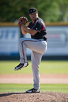 Lake Elsinore Storm relief pitcher David Bednar (24) prepares to deliver a pitch during a California League game against the Modesto Nuts at John Thurman Field on May 13, 2018 in Modesto, California. Lake Elsinore defeated Modesto 4-3. (Zachary Lucy/Four Seam Images)