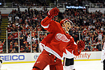 Detroit Red Wings center Dylan Larkin (71) celebrates a short handed goal against the Ottawa Senators during the second period of an NHL hockey game, Monday, April 3, 2017, in Detroit.  (AP Photo/Jose Juarez)
