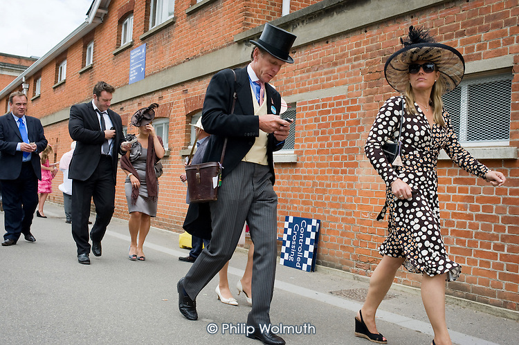 Racegoers approach the Royal Enclosure at Ascot racecourse on Ladies Day.