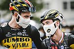 Belgian Champion Wout Van Aert (BEL) and Primoz Roglic (SLO) Jumbo-Visma line up for the start of Stage 1 of the 2021 Tour de France, running 197.8km from Brest to Landerneau, France. 26th June 2021.  <br /> Picture: A.S.O./Pauline Ballet | Cyclefile<br /> <br /> All photos usage must carry mandatory copyright credit (© Cyclefile | A.S.O./Pauline Ballet)