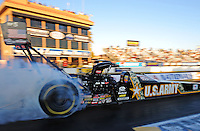 Feb. 17 2012; Chandler, AZ, USA; NHRA top fuel dragster driver Tony Schumacher during qualifying for the Arizona Nationals at Firebird International Raceway. Mandatory Credit: Mark J. Rebilas-