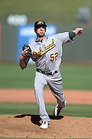 Mesa Solar Sox pitcher Jeff Urlaub (52), of the Oakland Athletics organization, during an Arizona Fall League game against the Peoria Javelinas on October 16, 2013 at Surprise Stadium in Surprise, Arizona.  Mesa defeated Peoria 3-1.  (Mike Janes/Four Seam Images)