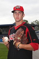 Batavia Muckdogs pitcher Jordan Swagerty (6) poses for a photo before game two of the NYPL Semifinals vs. the Tri-City Valleycats at Dwyer Stadium in Batavia, New York September 8, 2010.   Batavia defeated Tri-City 5-4.  Photo By Mike Janes/Four Seam Images