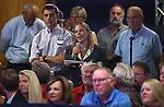 Catherine Byrne, who's son is in the Air Force, asks Republican Vice Presidential candidate Mike Pence about Donald Trump's disrespect for  the military during a rally in Carson City, Nev., on Monday, Aug. 1, 2016. The crowd responded with jeers and boos but Pence answered her question. Cathleen Allison/Las Vegas Review Journal