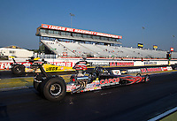 Aug. 30, 2013; Clermont, IN, USA: NHRA super comp driver Billy Torrence (near lane) races alongside Troy Coughlin Jr during qualifying for the US Nationals at Lucas Oil Raceway. Mandatory Credit: Mark J. Rebilas-